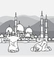 muslim doing salah at the background of a mosque vector image vector image