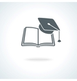 Open book with square academic cap vector image