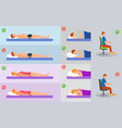 orthopedic pillow banner concept set flat style vector image