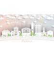 parma italy city skyline in paper cut style with vector image vector image