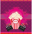 pop corn with clapper board cinema abstract card vector image vector image