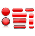 red glass buttons collection of 3d icons vector image vector image