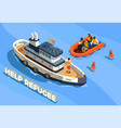 refugee boat isometric background vector image vector image