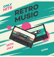 retro music party banner with cassette in 80s vector image vector image