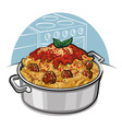 rigatoni pasta with meatballs vector image