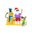 santa claus making photo with snowman made sand vector image