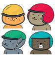 set cat wearing helmet vector image