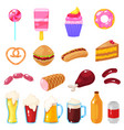 set fast food vector image vector image