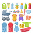 set of different tools for newborn baby vector image vector image