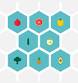 set of fruit icons flat style symbols with sweet vector image