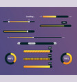 set of progress bars with percentages vector image vector image