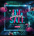 summer big sale typography poster with flamingo vector image