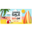 summer sale background with colorful surfboards vector image vector image
