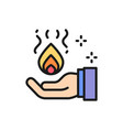 trick with fire in hand magic flat color line vector image vector image