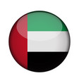 united arab emirates flag in glossy round button vector image vector image