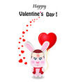 valentines card with rabbit in red hat holding vector image