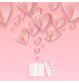 valentines hearts with gift box postcard paper vector image