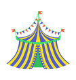 yellow and blue circus tent part of amusement vector image vector image