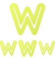 Yellow line w logo design set vector image vector image