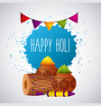 happy holi festival color celebration card vector image