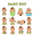 baby boy set cute boys in vector image