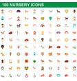 100 nursery icons set cartoon style