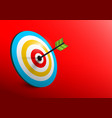 3d target - bullseye with arrow - dart on red vector image
