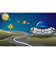 A road near the planets vector image vector image