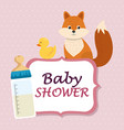 baby shower card with cute fox and duck vector image