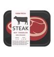 Beef tenderloin in the package Steak vector image vector image
