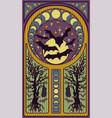 black bats and full moon art nouveau style card vector image vector image