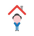 businessman character standing under house roof vector image vector image