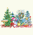christmas greeting card with snowman vector image vector image