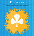 Clover icon Floral flat design on a blue abstract vector image vector image