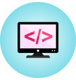 coding on screen flat icon with gradient vector image vector image