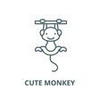 cute monkey line icon cute monkey outline vector image vector image