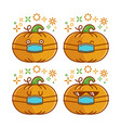 cute smiling halloween pumpkin cartoon wearing vector image