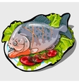 Dish with cooked fish and vegetables icon closeup vector image vector image
