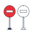 do not enter prohibiting road sign icon in doodle vector image vector image