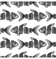 dotwork sliced fish seamless pattern vector image vector image