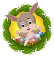 easter bunny in leaf frame vector image