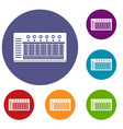 electronic synth icons set vector image vector image