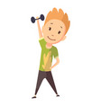 fitness sport boy lifting weight and making vector image vector image