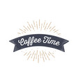 flag ribbon coffee time old school flag banner vector image vector image