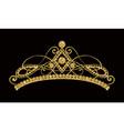 glittering diadem golden tiara isolated on black vector image vector image