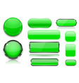 green glass buttons collection 3d icons vector image vector image