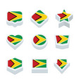 guyana flags icons and button set nine styles vector image vector image