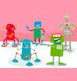 happy robot characters group cartoon vector image vector image