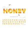 honey glossy font sweet cartoon alphabet isolated vector image