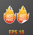hot fire price stickers eps 10 vector image vector image